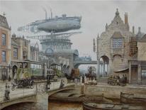 Dampf, Luftschiff, Stadt, Steampunk