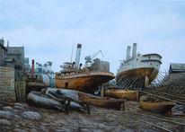 Schiff, Dampfschiff, Malerei, Sonnenuntergang