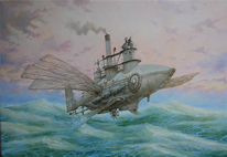 Dampfschiff, Dampf, Steampunk, See