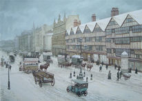 Straße, London, Winter, Viktorianisches