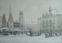 Halle, Winter, Markt, Malerei