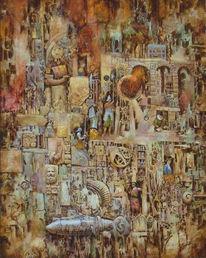 Fantasie, Temperamalerei, Wand, Malerei