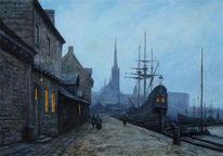 Nacht, Hafen, Schiff, Ölmalerei