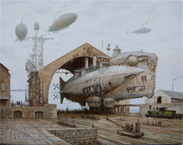 Dampf, Steampubk, Luftschiff, Malerei