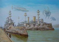 Hafen, Luftschiff, Dampfschiff, Steampunk