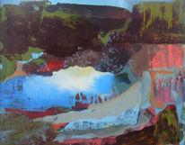 Landschaft, Bergsee, See, Malerei