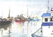 Norwegen, Bergen, Aquarellmalerei, Hafen