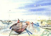 Schweden, Aquarellmalerei, Boot, Norwegen