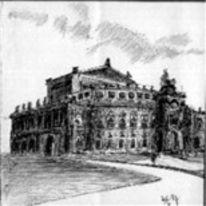 Dresden, Semperoper, Sachsen, Zeichnungen