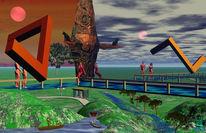 Spiegen, Landschaft, Dreieck, Digitale kunst