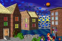 Menschen, Häuser, Nacht, Digitale kunst