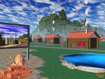 Berge, Häuser, Baustelle, Digitale kunst