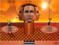 Leiter, Sonne, Gesicht, Digitale kunst