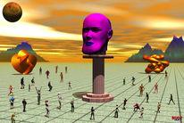 Menschen, Auflauf, Monument, Digitale kunst