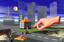 Baustelle, Hand, Hochhaus, Haus