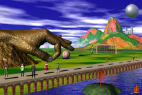 Brücke, Hand, Menschen, Berge