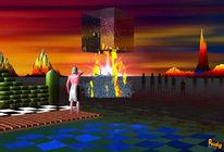 Feuer, Berge, Menschen, Digitale kunst
