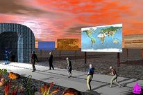 Tunnel, Menschen, Alien, Digitale kunst