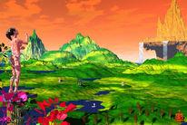 Garten, Berge, Eden, Digitale kunst