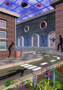 Häuse, Schatten, Straße, Digitale kunst