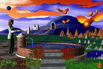 Brunnen, Wasser, Himmel, Digitale kunst