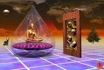 Spiegel, Surreal, Meditation, Frau