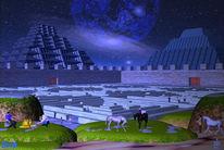 Gebäude, Blau, Irrgarten, Menschen