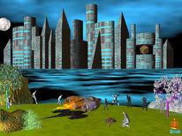 Raumschiff, Stadt, Wasser, Digitale kunst