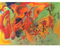 Pastellmalerei, Buntstiftzeichnung, Zeichnungen, Abstrakt