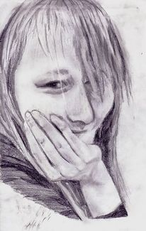 Zeichnung, Bleistiftzeichnung, Frau, Portrait