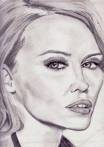 Portrait, Bleistiftzeichnung, Sängerin, Zeichnung