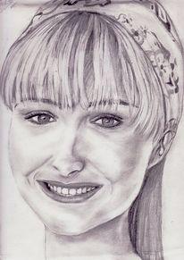 Frau, Portrait, Zeichnung, Bleistiftzeichnung