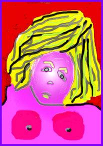 Puppe, Rand, Aufgeplasen, Violett