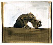 Wachsen, Riechen, Wartenaquarellmalerei, Braun