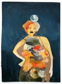 Frau, Kleid, Kugel, Malerei