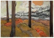 Fuchs, Berge, Hirsch, Malerei