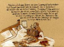 Kranker, Bett, Frau, Zeichnungen