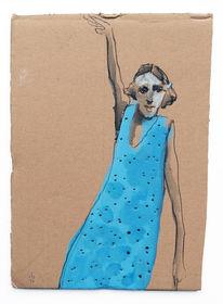 Kleid, Blau, Frau, Zeichnungen