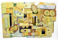Loch, Käse, Zeit, Malerei