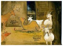 Schutzhütte, Ziegen, Kamel, Zeichnungen