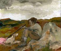 Jäger, Hund, Natur, Winslow homer