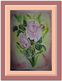 Rose, Grün, Aquarell,