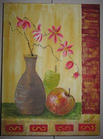 Collage, Vase, Blumen, Apfel birne