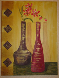 Blumen, Collage, Vase, Malerei