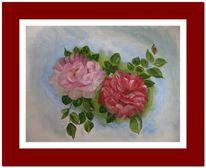 Rose, Grün, Rot, Malerei