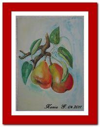 Blätter, Birne, Rot, Gelb