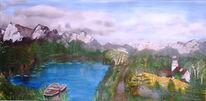 Natur, Malerei, Bergsee