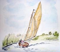 Natur, Malerei, Wind, Segel