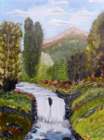Natur, Malerei, Wasserfall