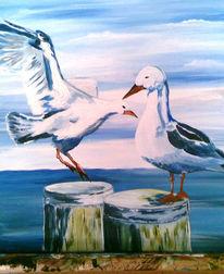 Vogel, Malerei, Tiere, Zweisamkeit